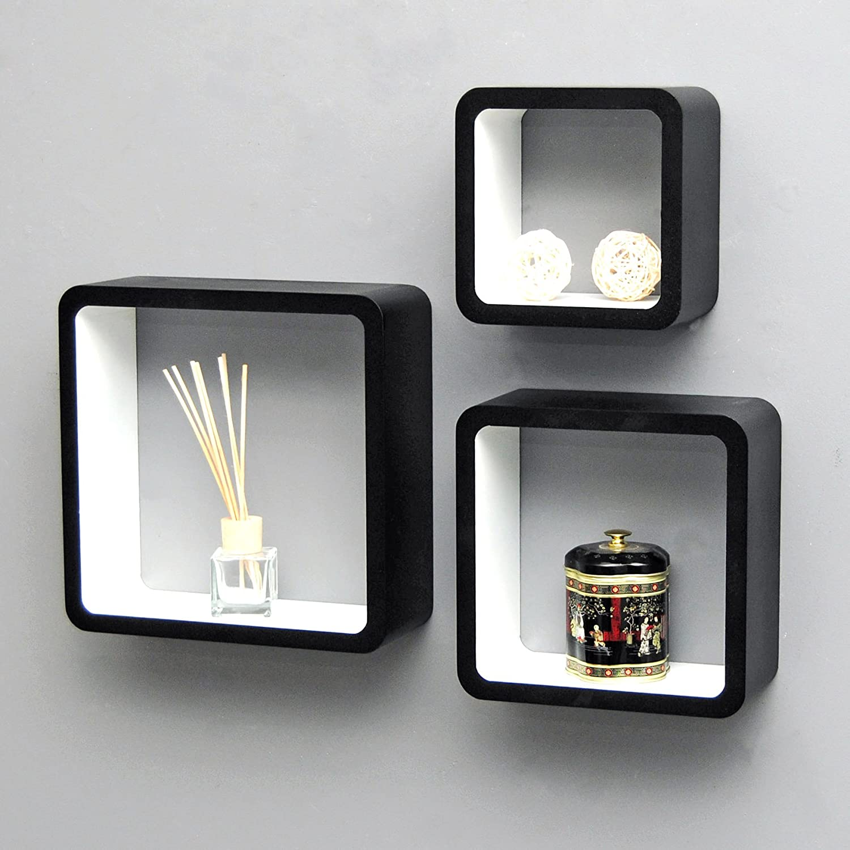 Ts Ideen Lot De 3 Etageres Design Mur 5732 Retro 70s Cube