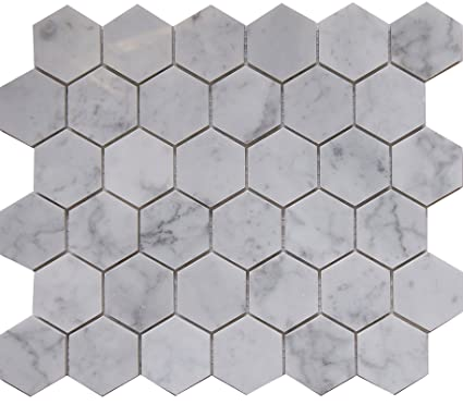 Carrara White Marble Mosaic Tile CWMMHEXH Chip Size Hexagon - 2 carrara marble hexagon floors