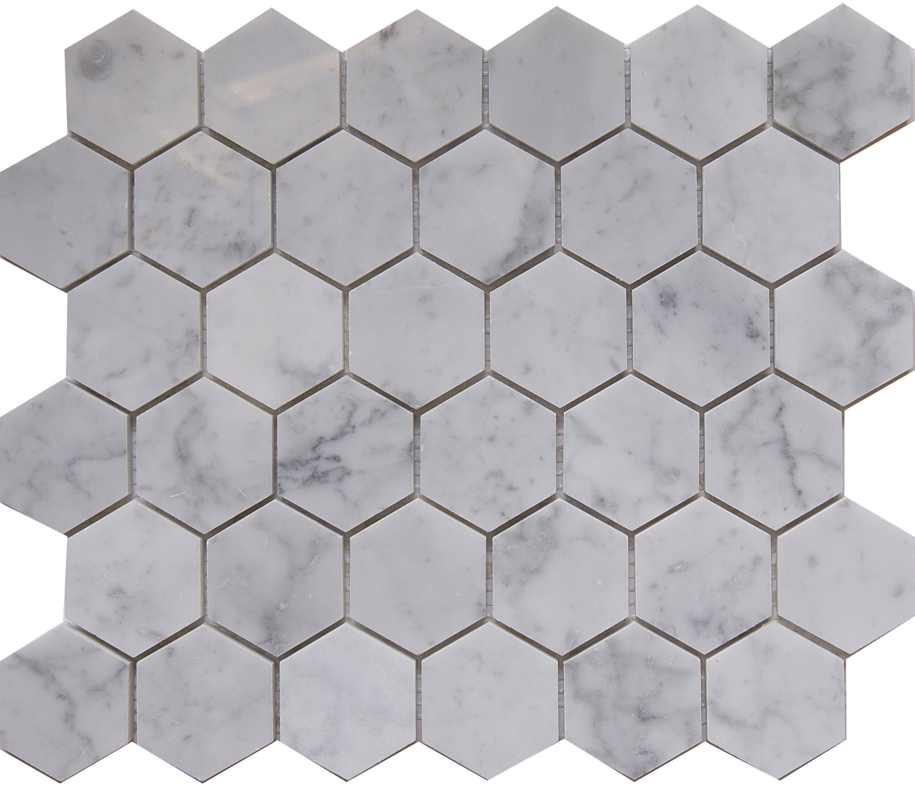 Carrara White Marble Mosaic Tile, CWMM2HEX-H, Chip Size 2'' Hexagon, 12''X10''X3/8'', Honed (Box of 5 Sheets)