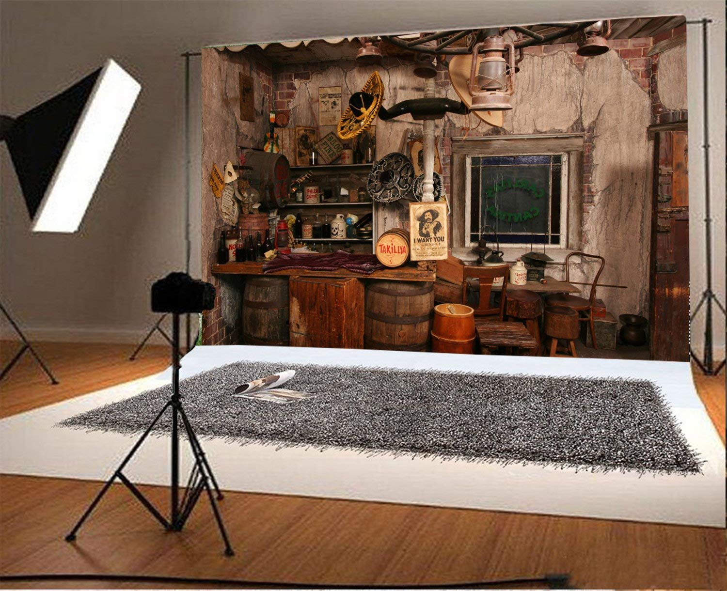 Laeacco 7x5FT Vinyl Photography Background Inside Replica Wild West Saloon Shabby House Interior Life Collection Scene Backdrops Personal Portraits Art Photographic Shooting Video Studio Props