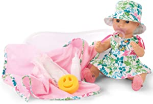 Gotz 1953139 Sleepy Aquini Girl Blooms Doll - 33 cm Bathing Baby Doll Without Hair and Blue Sleeping-Eyes - Suitable Agegroup 3+