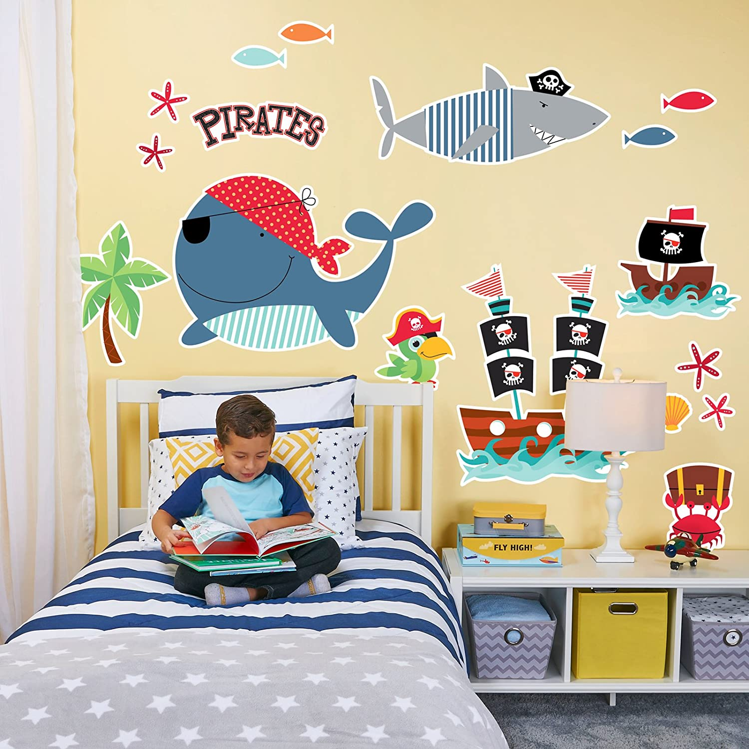 Amazon.com: Pirate Whale Shark Room Decorations Vinyl Wall Graphic ...