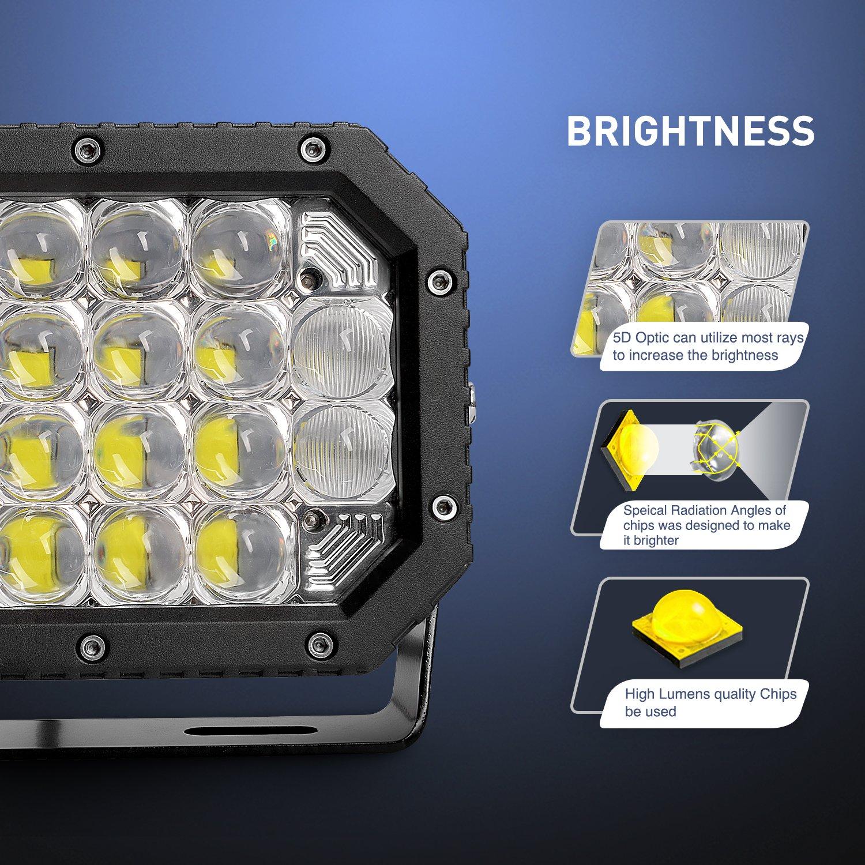 Nilight - Lámpara LED 2pcs 7 Inch 60 W Spot Flood Combo 5d ...
