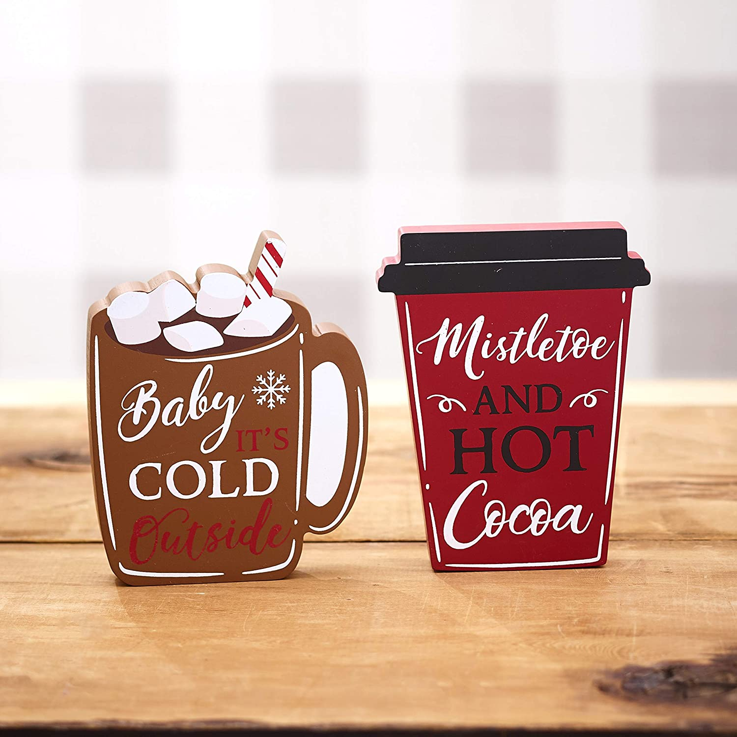 The Lakeside Collection Warm Winter Season Drinks Tabletop Wooden Block Sign Set - Set of 2