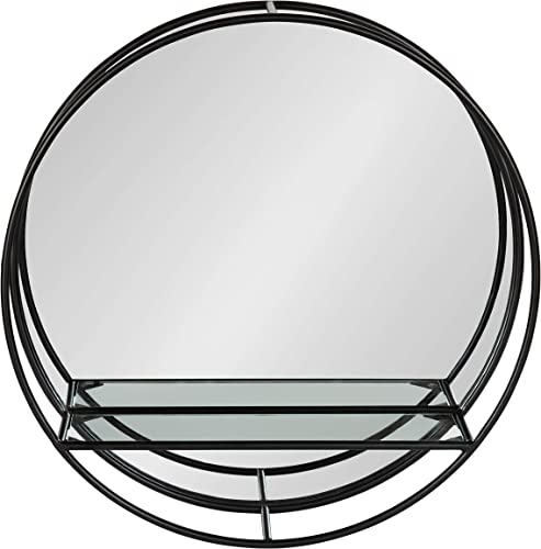 Kate and Laurel Kei Modern Round Accent Mirror with Shelf, 19 Diameter, Black, Contemporary Wall Decor with Convenient Display and Storage