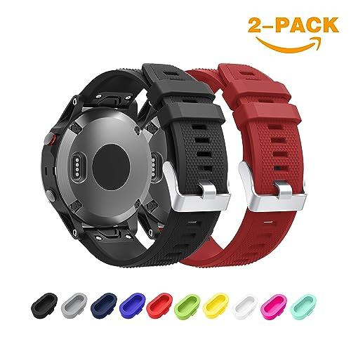 TOPsic Garmin Fenix 5 Bracelet, Bracelet de Remplacement en Silicone Souple pour Fenix 5/Forerunner 935/Fenix 5 Plus Montre GPS Multisports(Pas Compatible de 5X 5S)(Noir + Rouge foncé-a)