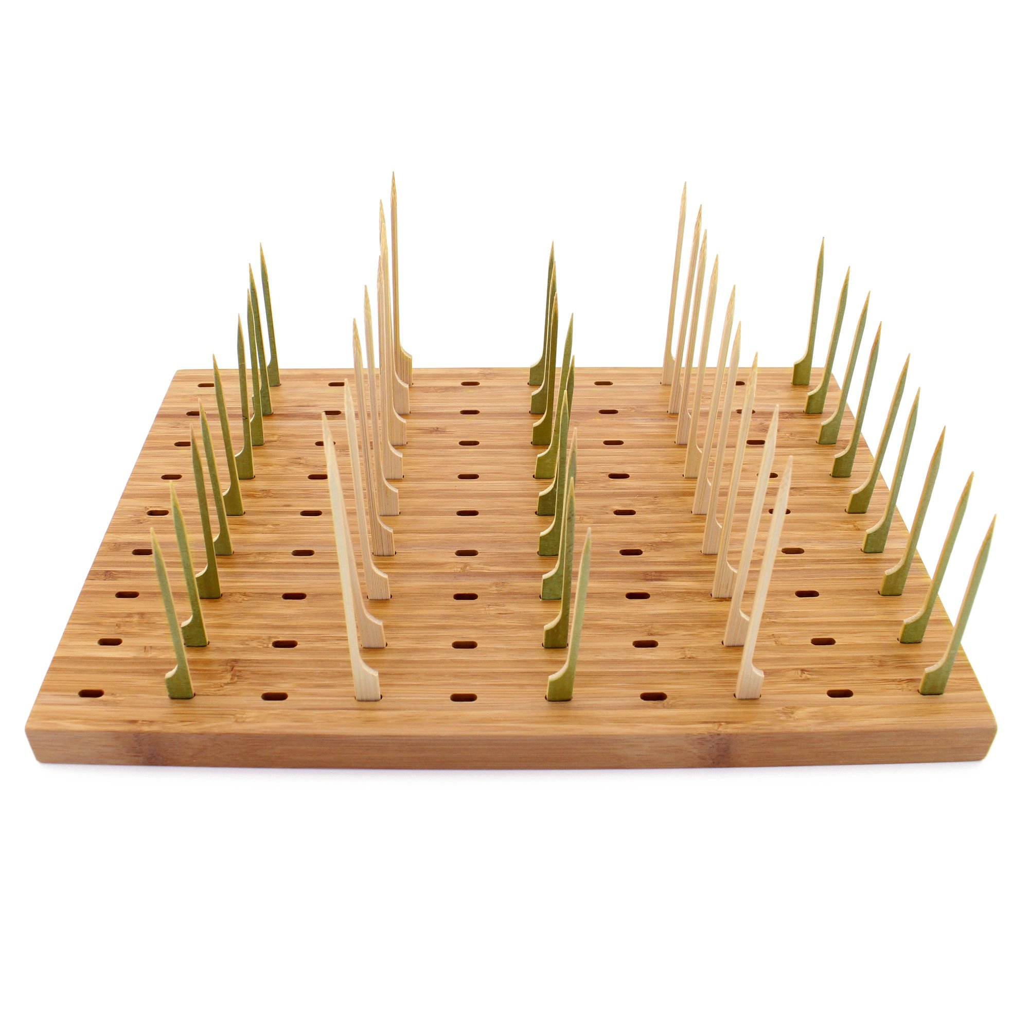 BambooMN 14''x9.8'' Bamboo Paddle Skewers Holder Food Display Stand w/90 Holes, Perfect for Catered Events, Restaurants, Cocktail Party Supplies - 1 Piece