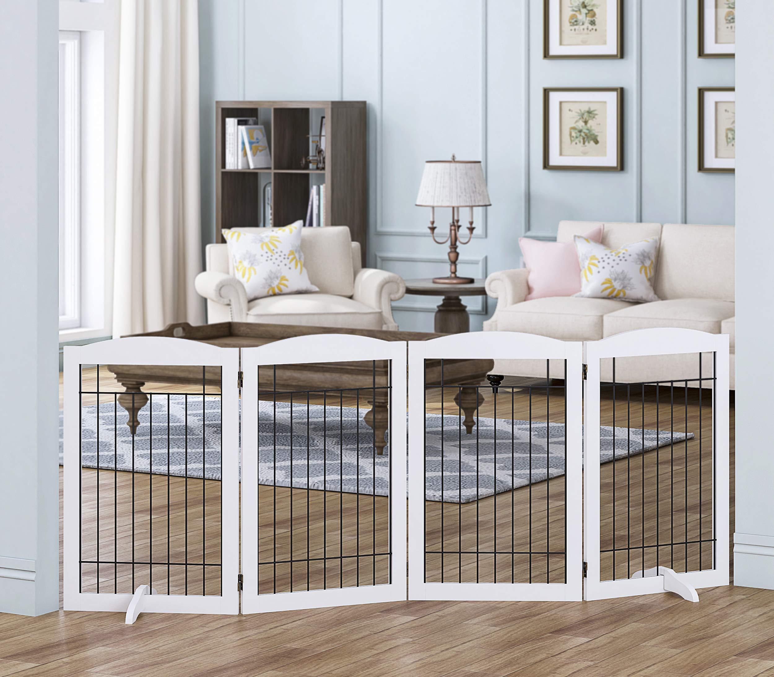 Spirich Free Standing Foldable Wire Pet Gate for Dogs, 80 inches Extra Wide, 30 inches Tall 4 Panels Dog Gate for the Houes, Doorway, Stairs, Pet Puppy Safety Fence,Set of Support Feet Included, White by Spirich