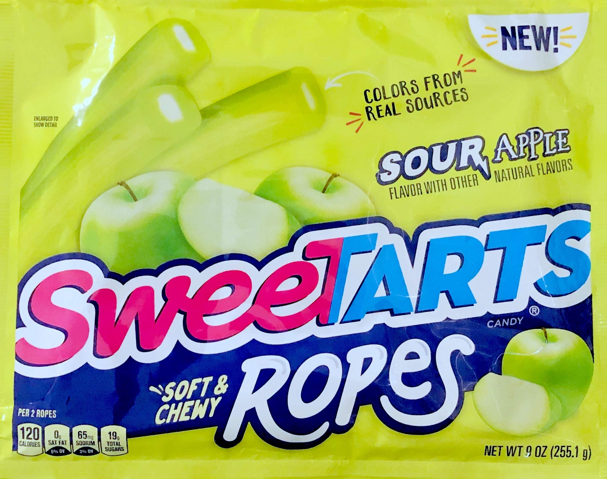 NEW Sweetarts Sour Apple Soft & Chewy Ropes Net Wt 9oz (1) by SweetartsRopes