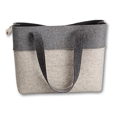08607ec963137 i.Punkt Bicolor Shopper Einkaufstasche aus Filz (100% Wolle)