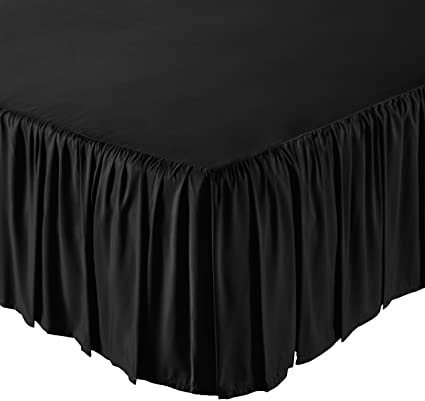 Amazon Com Amazonbasics Ruffled Bed Skirt Queen Black Home