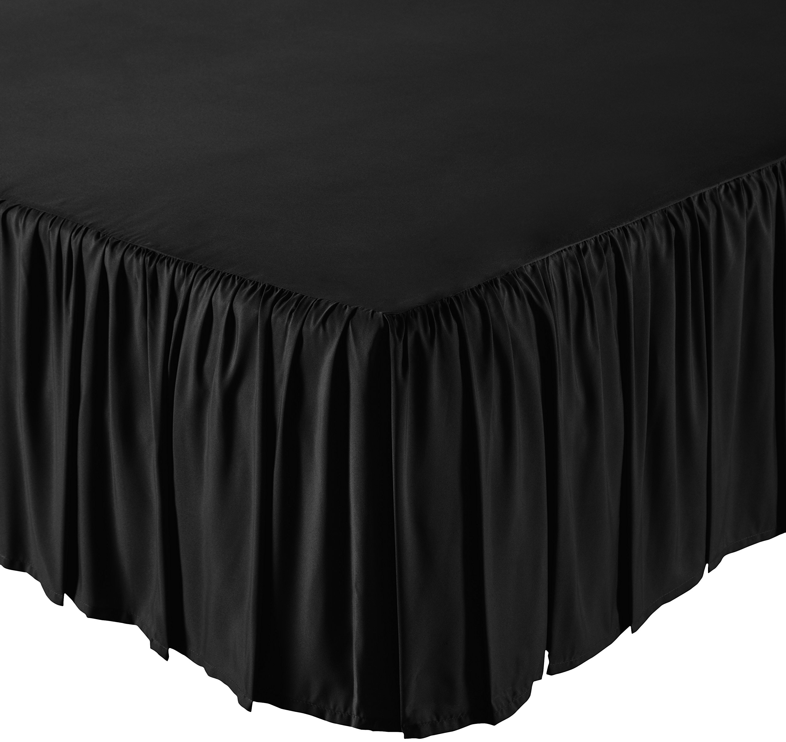 AmazonBasics Ruffled Bed Skirt - Queen, Black