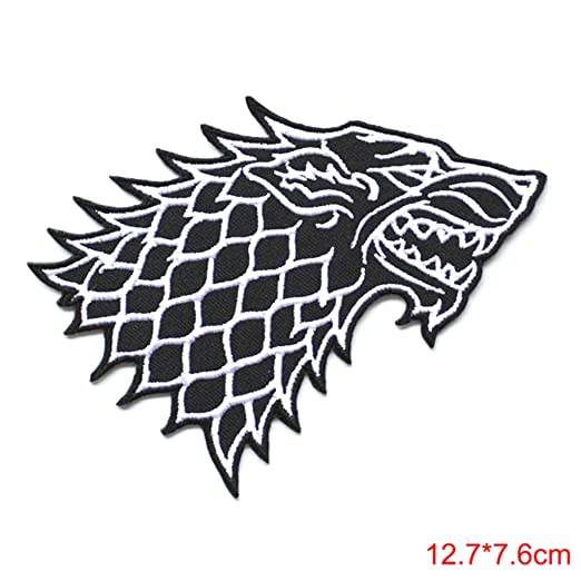 "4. 6"" game of thrones stark direwolf embroidered emblem applique."