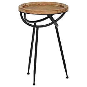 "Stone & Beam Modern Rustic Wood and MetalSide Table, 16.25""W, Natural"