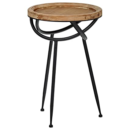 Stone U0026 Beam Modern Rustic Wood And Metal Side Table, 16.25u0026quot; ...