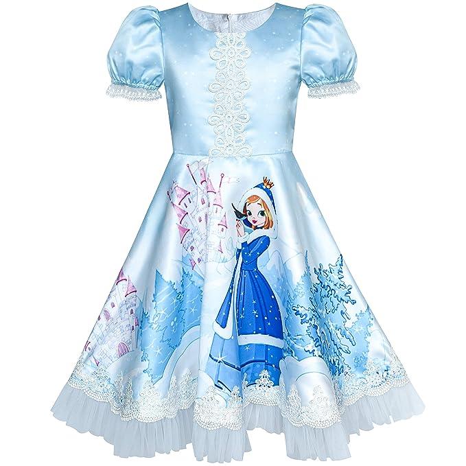 Amazon.com: SUNNY Fashion vestidos de niña Elsa, Anna Encaje ...
