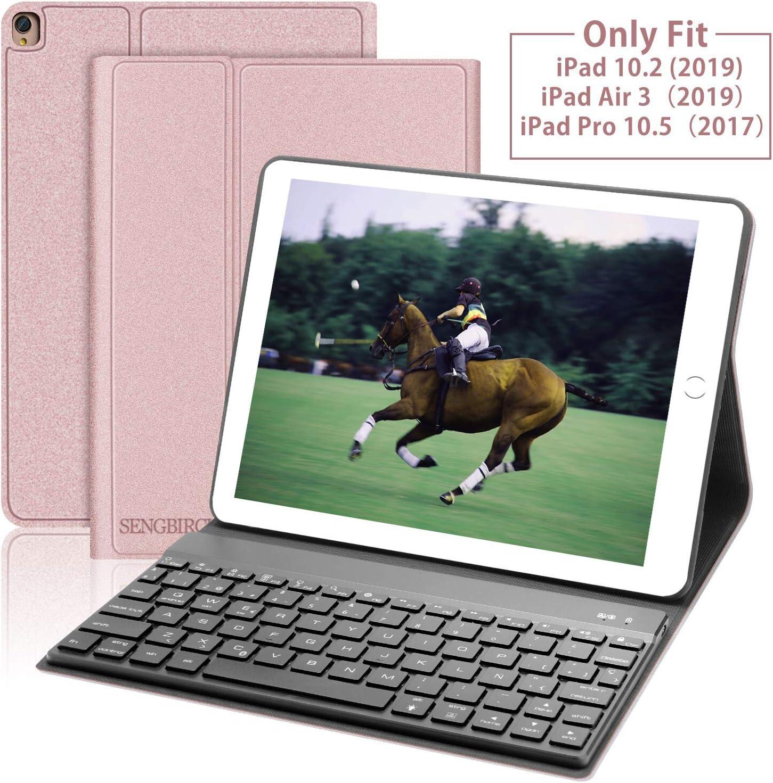 SENGBIRCH Teclado con Funda para iPad 10.2 2019(7ª Generación) /iPad Air 3 /iPad 10.5 Pro,Bluetooth Inalámbrico Removable Teclado (Incluye Ñ) con Elegante Magnética Delgada Protectora Cover,Oro Rosa