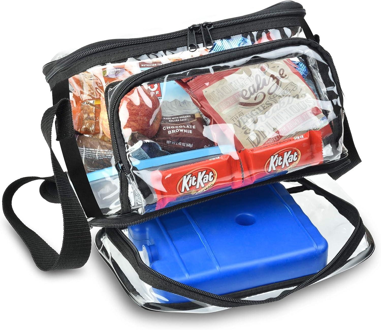 Large Clear Lunch Bag Box Tote Shoulder Strap Front Storage Zippered Pocket Kit