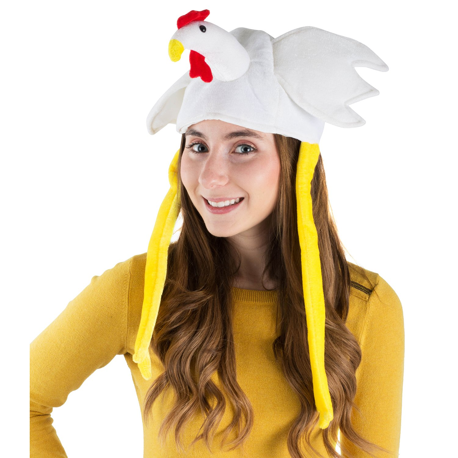 8035ad94b26 Amazon.com  Chicken Hat - Rooster Hat - Farm Costumes - Novelty Hats - Farm  Animal Costumes by Funny Party Hats  Clothing