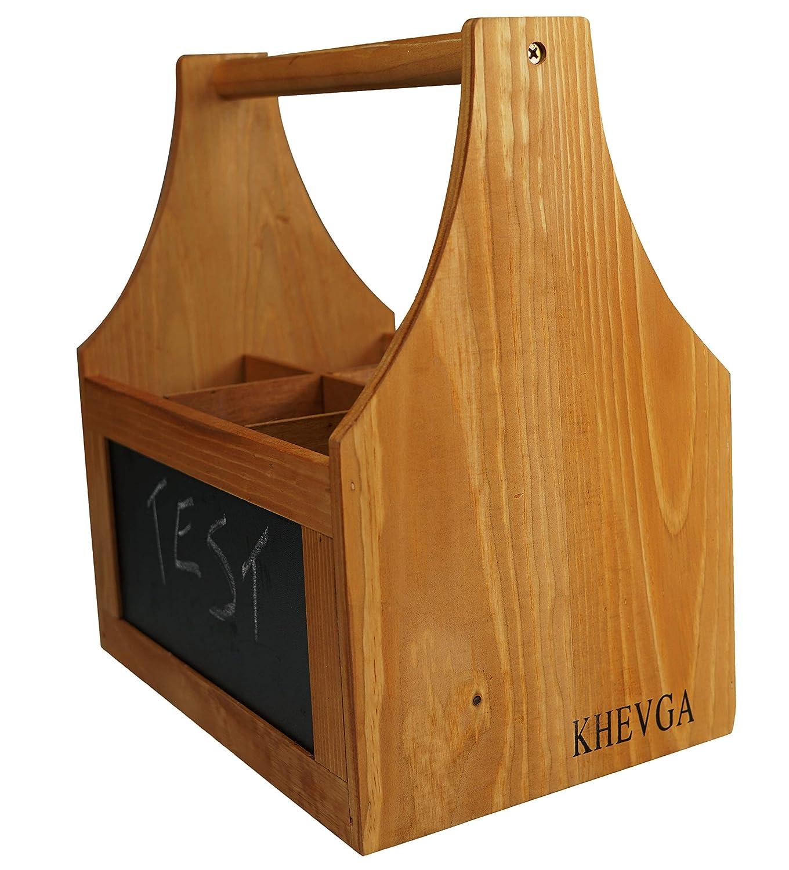 khevga Cesta para Botellas de Madera de Pino con abridor y Pizarra para Escribir Portabotellas de Cerveza de 6 Botellas de 0,5 litros