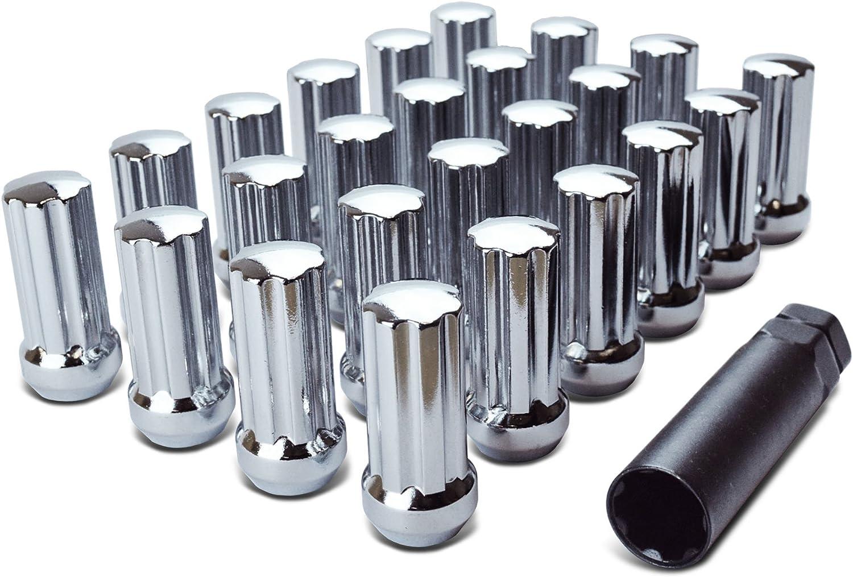 2 Height Pack of 24 + Key Acorn Spline Lug Nut Black Chrome Plating 14mmx1.5 Thread WheelGuard 98-0419LBK