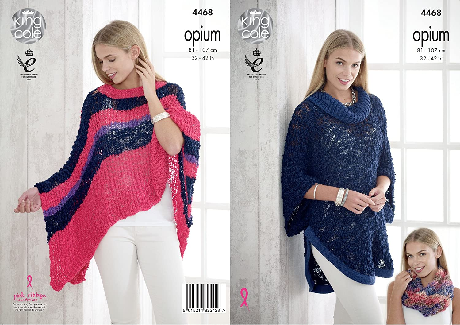 Womens Round or V Neck Cabled Poncho Cape Chunky Knitting Pattern King Cole 4861