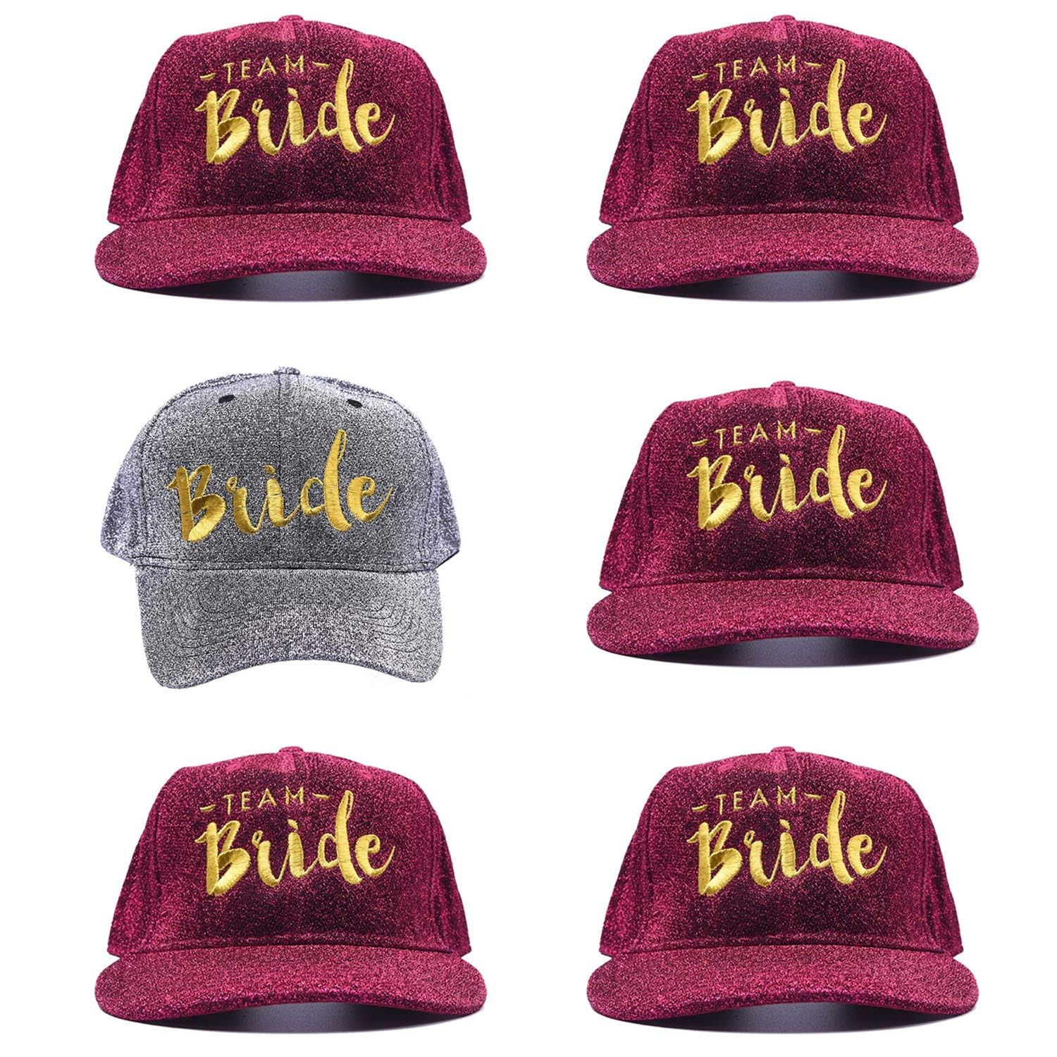 6 Pack Bachelorette Party Trucker Hats Team Bride Baseball Caps Bridal Shower Gold Embroidery Hen Party Beach Favors (Gray)