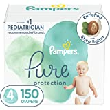 Diapers Size 4, 150 Count - Pampers Pure Protection Disposable Baby Diapers, Hypoallergenic and Unscented Protection, ONE MON
