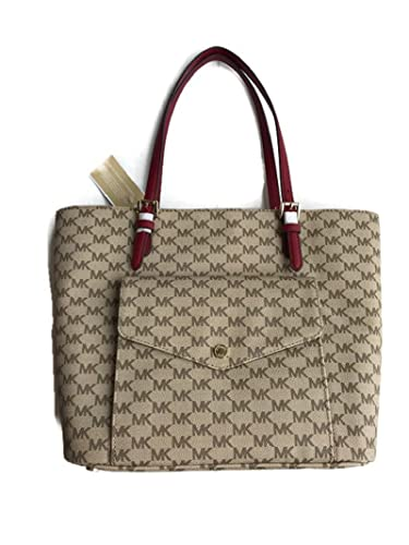 c50ef9f50f82 Amazon.com  Michael Michael Kors Logo Jet Set Large Multi Function Pocket  Front Leather Tote Bag Natural   Cherry  Shoes
