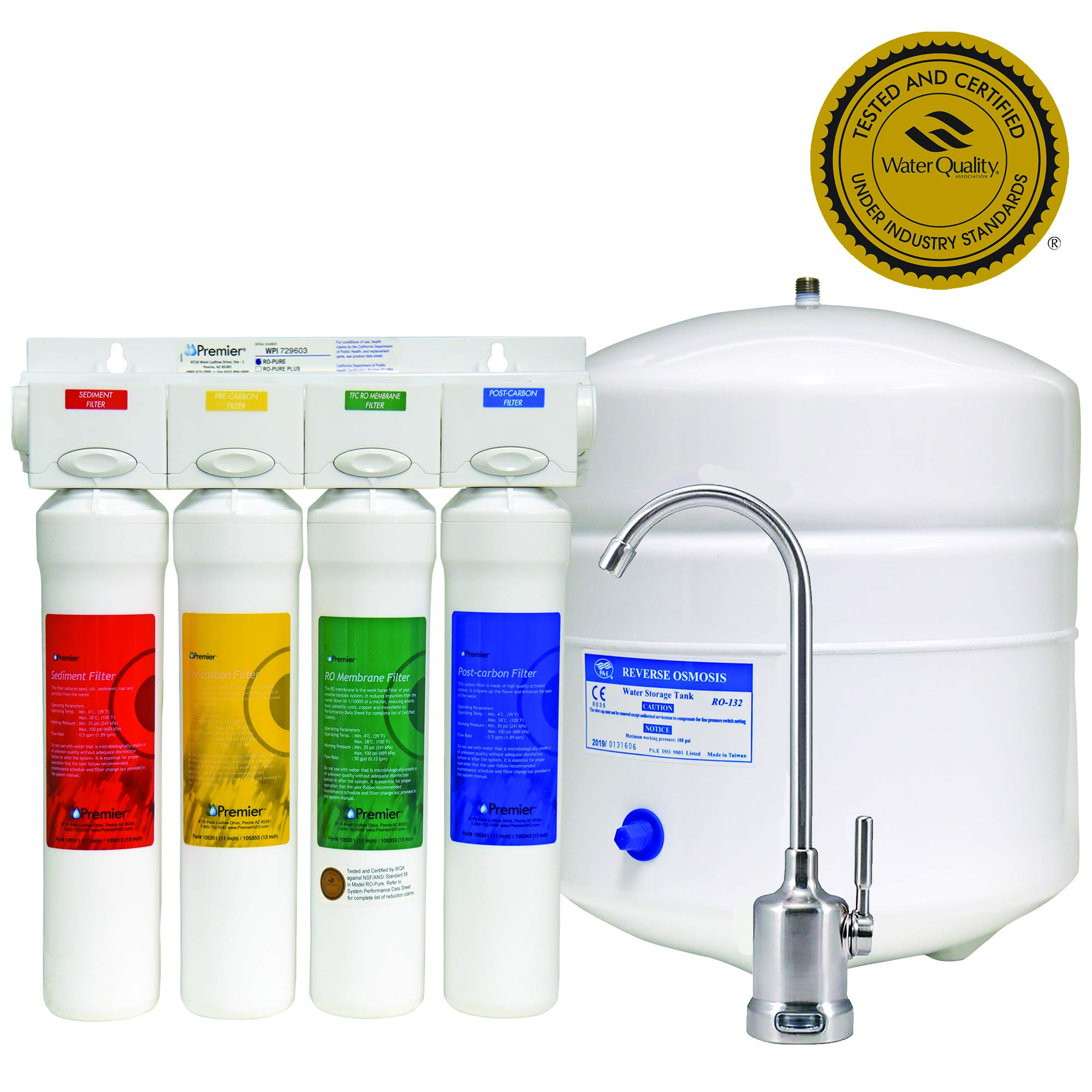 Watts Premier WP531407, RO-Pure 4-Stage Reverse Osmosis Water Filtration System, Brushed Nickel by Watts Premier
