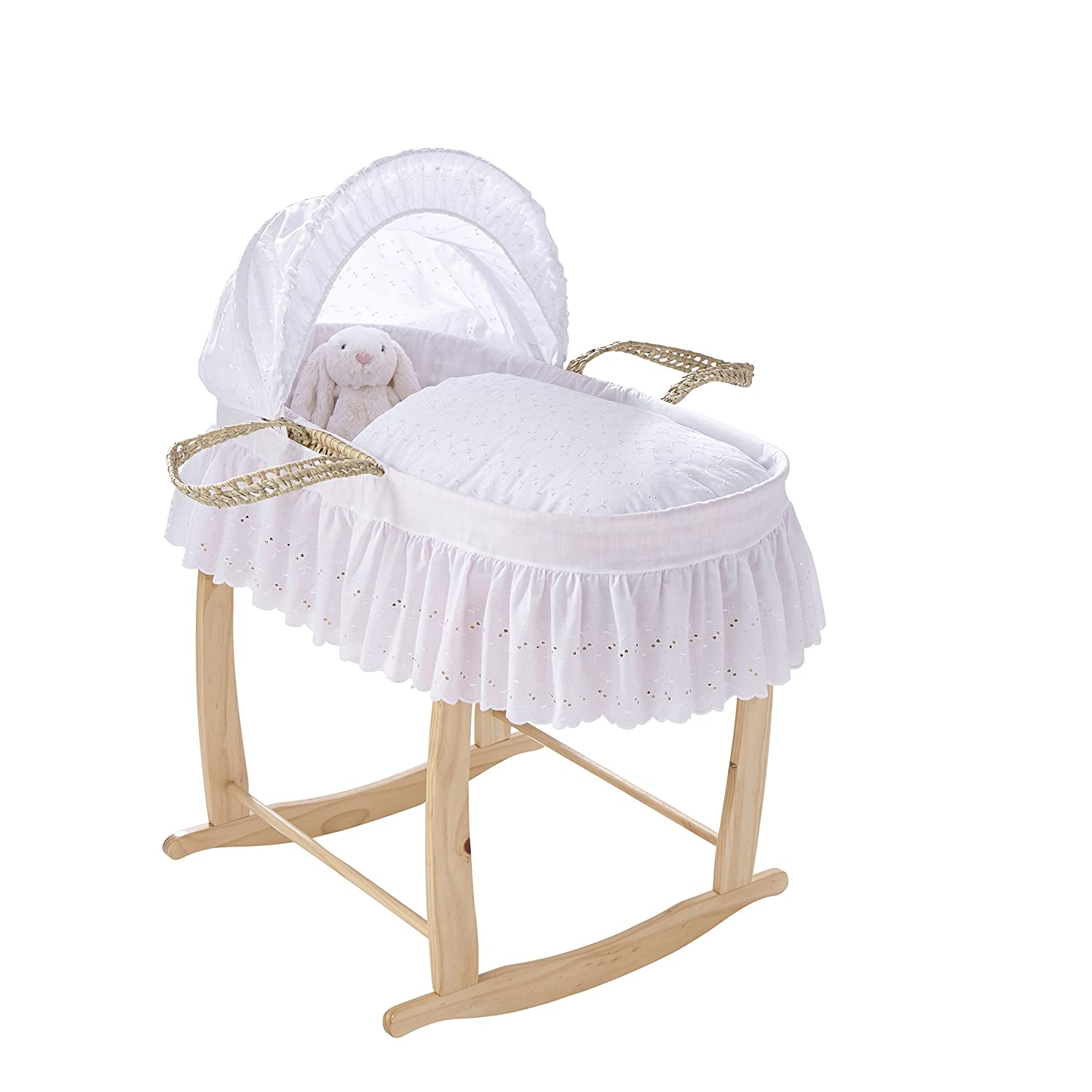 Clair de Lune Traditional Broderie Anglaise Palm Moses Basket with Skirt inc. bedding, mattress & adjustable hood (White) 3516WE