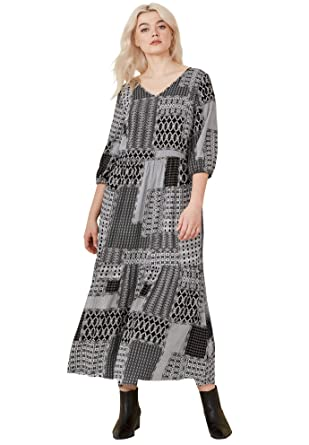 fdef0096c44 Ellos Women s Plus Size Printed Tiered Maxi Dress at Amazon Women s  Clothing store