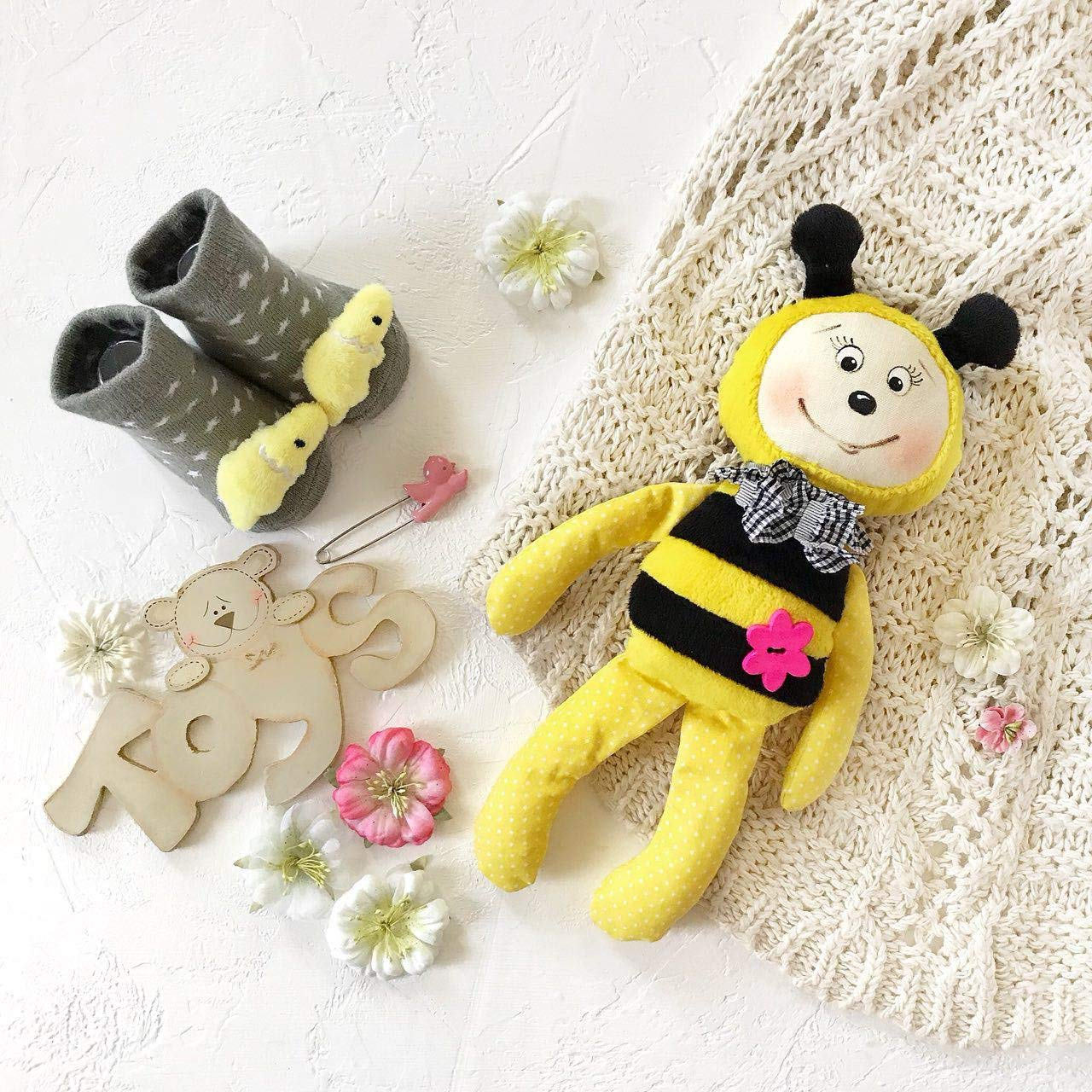 Organic Plush Toy Bee Eco Toys For Kids Comforter