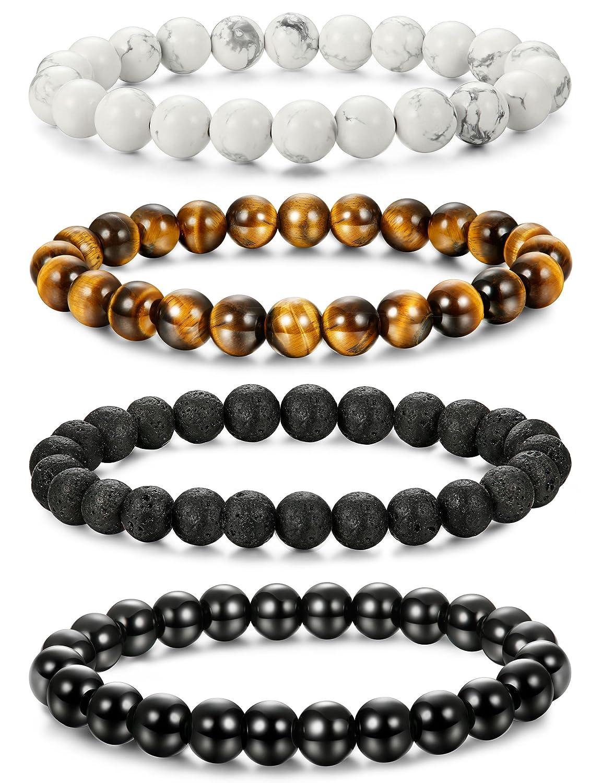 LOLIAS 4-6 Pcs Mens Womens Crystal Bracelet Jewelry Natural Stone Yoga Healing Bracelet Beads Adjustable 8MM ZZSL24-X4
