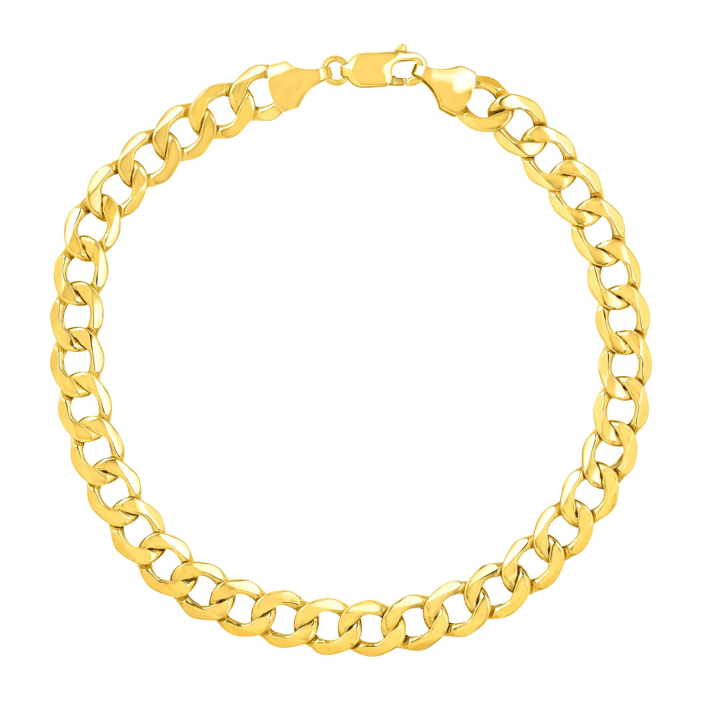 Just Gold Men's Bevelled Link Bracelet in 10K Gold