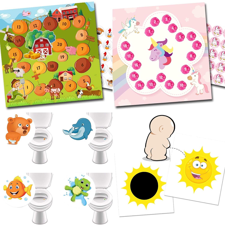 4 Toilettensticker Lieblingstiere Einhorn 2 Zaubersticker Sonne T/öpfchen Training mit 2 Belohnungssystemen Bauernhof