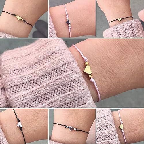 Feines Herz Armband In Schwarz Grau Rosa Grossenverstellbar