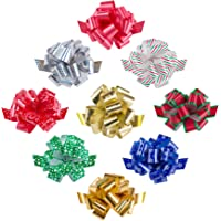 "Zoe Deco Gift Bows (Multiple Colors, 5"" Wide, 18 Loops, 9 Pack), Weather Resistant Gift Bow, Colorful and Eye-catching…"