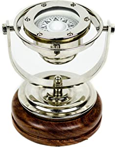 """5"""" Brass Gimbals Nautical Fully Functional Directional Compass with Wooden Base Stand & Rotating Axis 