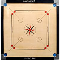 KORNERS Full Size Combo of Round Pocket Matte Finish Carrom Board with Coins,Striker & Powder (4mm)