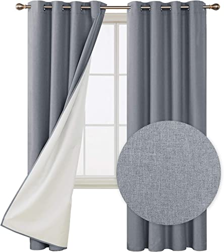 Deconovo Faux Linen Total Blackout Curtains Room Darkening Thermal Insulated Noise Reduction Window Draperies for Bedroom 52W x 108L Inches Grey Set of 2