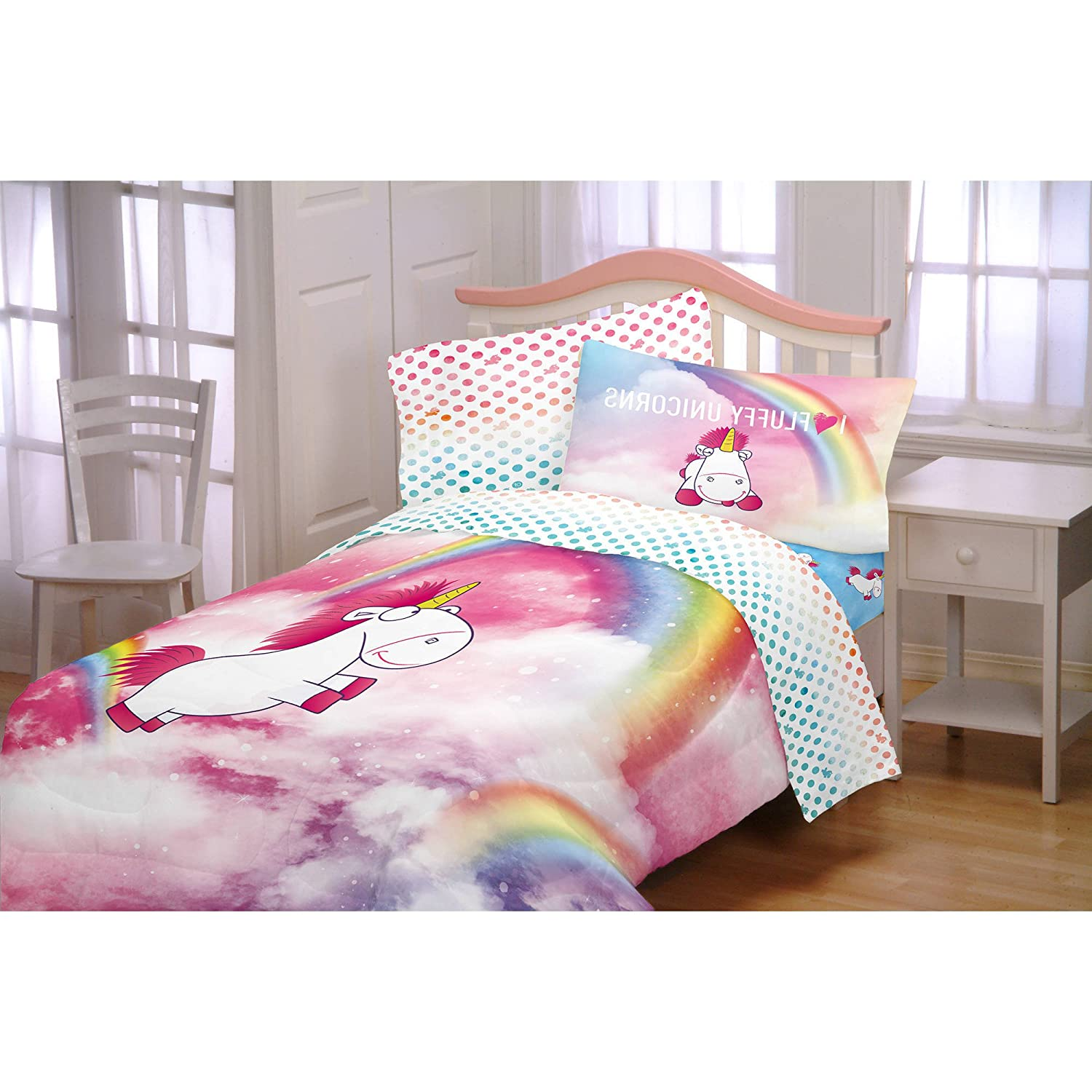 1 Piece Kids Girls Pink White Unicorns Comforter Twin Full, Blue Rainbows Unicorn Bedding Magical Ponies Despicable Me Minons Movie Themed White Horned Horse Cute Hearts Print Vibrant Colors Polyester