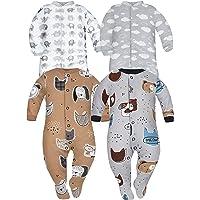 Sibinulo Niño Niña Peleles Mamelucos, Pijama Manga Larga, Tamaños 0 a 24 Meses (9-24 con Pies Antideslizantes), Pack de…