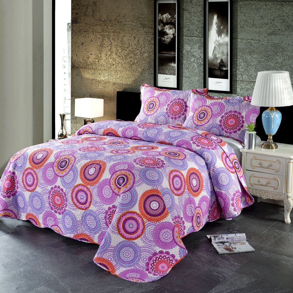 Jessy Home Purple Quilts King Size,Country Bedspreads/Coverlets Set,Bohemian Bed Cover All-Season