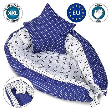 Bebé nido Cocoon para cuna - Capullo para ropa de cama para bebés Ropa de cama Nido de peluche 100% algodón AZUL
