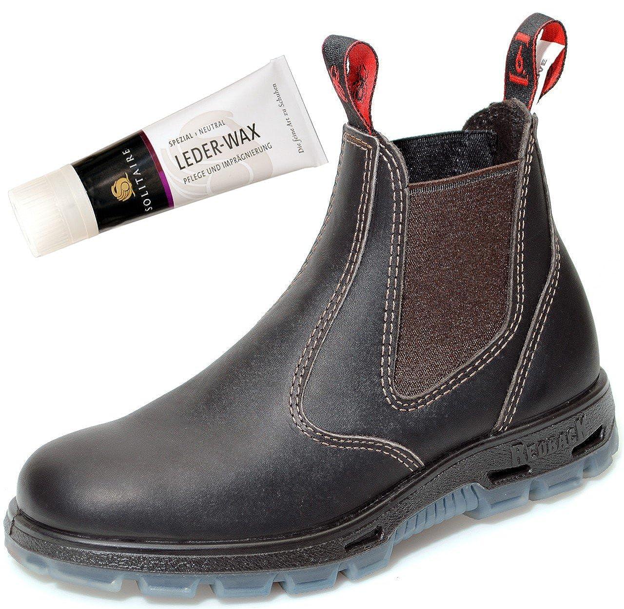 Rotback USBOK Safety Stiefel mit Stahlkappe aus Australien Unisex - Claret braun + Lederwax von Solitaire