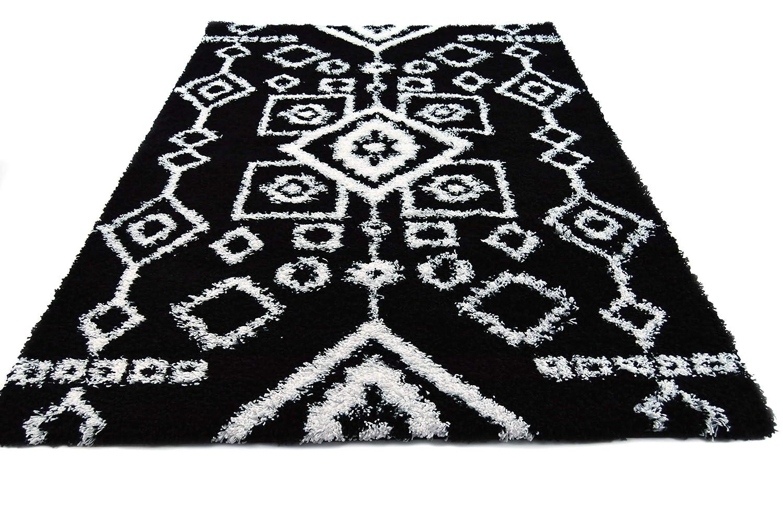 Amazoncom Super Area Rugs 3 X 5 Aztec Black White Shag Rug
