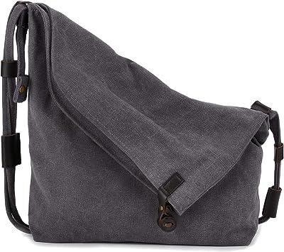Gindoly Casual Handtasche Damen Canvas Chic Schultertasche Damen Henkeltasche Schulrucksack Gro/ße umh/ängetasche Tasche Braun