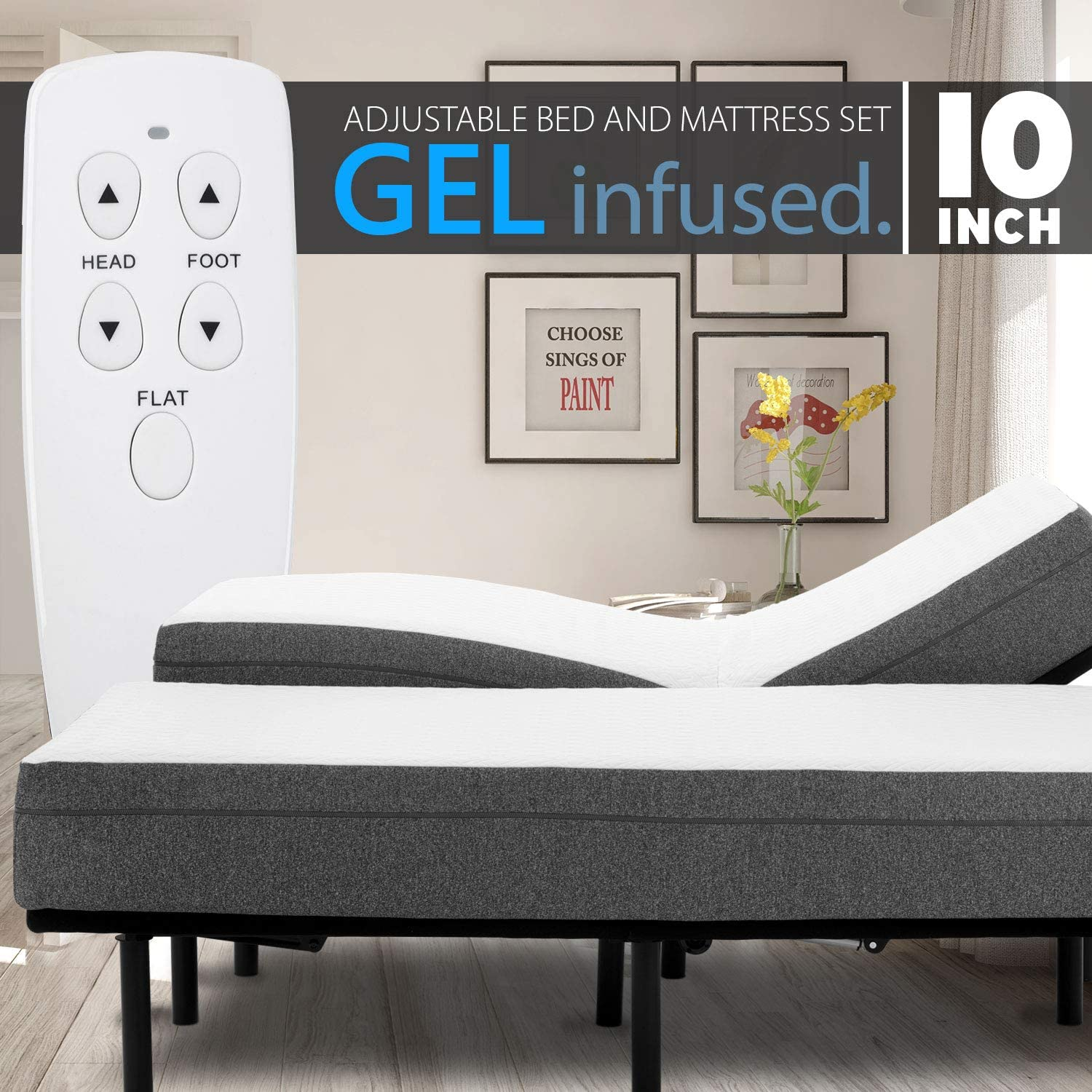 10 Gel Infused Medium Firm Memory Foam Mattress with Adjustable Bed Frame Combo Set Head and Foot Incline Wired Remote Split King
