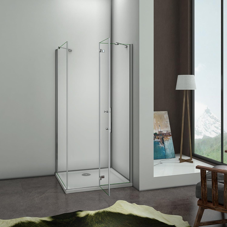 Mampara de ducha angular, con puerta plegable batiente de 180 ...